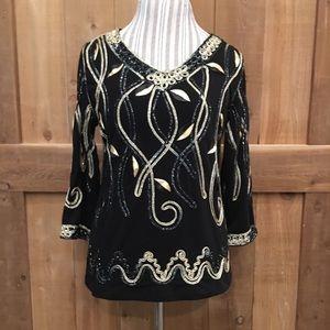 Lauren Michelle Vintage Blouse Black Gold Rope LG
